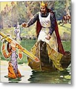 Arthur And Excalibur Metal Print by James Edwin McConnell
