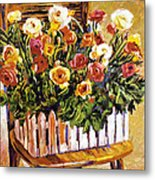 Chair Of Flowers Metal Print by David Lloyd Glover