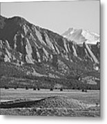 Colorado Rocky Mountains Flatirons With Snow Covered Twin Peaks Metal Print by James BO  Insogna