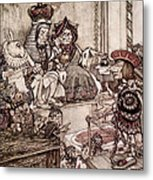 Knave Before The King And Queen Of Hearts Illustration To Alice S Adventures In Wonderland Metal Print by Arthur Rackham