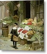 Little Boy At The Market Metal Print by Victor Gabriel Gilbert