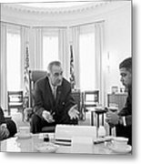 Lyndon Baines Johnson 1908-1973 36th President Of The United States In Talks With Civil Rights  Metal Print by Anonymous