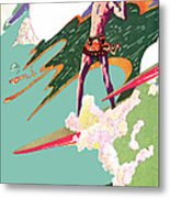 Retro Surfer - Beach Surfing Big Waves - At The Beach America Metal Print by Private Collection