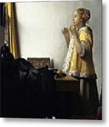 Young Woman With A Pearl Necklace Metal Print by Johannes Vermeer