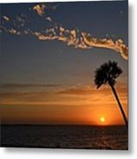 0502 Palms With Sunrise Colors On Santa Rosa Sound Metal Print by Jeff at JSJ Photography