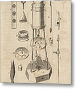 18th Century Microscope, Artwork Metal Print by Science Photo Library