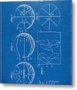 1929 Basketball Patent Artwork - Blueprint Metal Print by Nikki Marie Smith