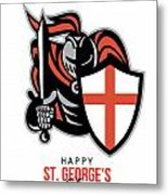 A Day For England Happy St George Greeting Card Metal Print by Aloysius Patrimonio