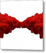 Abstract Merging Red Inks Metal Print by Allan Swart