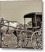 Amish Boy Tips Hat Metal Print by Robert Frederick