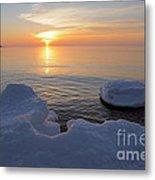 An Icy  Superior Sunrise Metal Print by Sandra Updyke