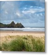Beautiful Blue Sky Morning Landscape Over Sandy Three Cliffs Bay Metal Print by Matthew Gibson