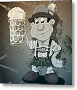 Beer Stein Lederhosen Oktoberfest Cartoon Man Grunge Monochrome Metal Print by Frank Ramspott