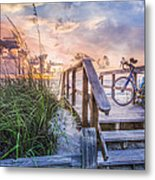 Bicycle At The Beach Metal Print by Debra and Dave Vanderlaan