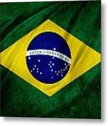 Brazilian Flag Metal Print by Les Cunliffe