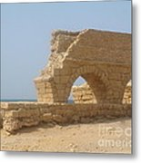 Caesarea Israel Ancient Roman City Port Metal Print by Robert Birkenes