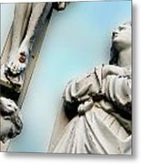 Christ On The Cross With Mourners Saint Joseph Cemetery Evansville Indiana 2008 Metal Print by John Hanou