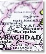 close up of Baghdad on map-Iraq Metal Print by Tuimages