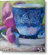 Coffee And Flowers Metal Print by Nancy Stutes
