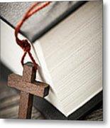 Cross And Bible Metal Print by Elena Elisseeva