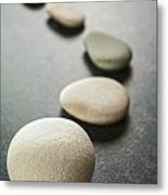 Curving Line Of Grey Pebbles On Dark Background Metal Print by Colin and Linda McKie