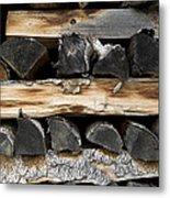 Firewood Stack Metal Print by Frank Tschakert