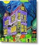 Flight Of The Moon Witch On Hallows Eve Metal Print by Janet Immordino