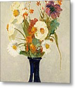 Flowers In A Vase Metal Print by Odilon Redon