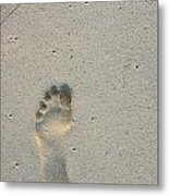 Footprint In Sand On Beach Metal Print by Sami Sarkis