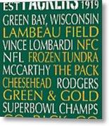 Green Bay Packers Metal Print by Jaime Friedman