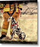 Hurricane Sandy Fireman And Dog Metal Print by Jessica Cirz