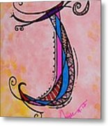 'j' Monogram Metal Print by Joyce Auteri