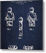 Lego Toy Figure Patent - Navy Blue Metal Print by Aged Pixel