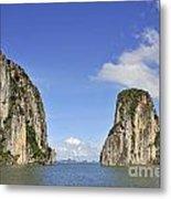 Limestone Karst Peaks Islands In Ha Long Bay Metal Print by Sami Sarkis