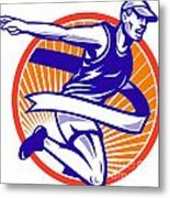 Male Marathon Runner Running Retro Woodcut Metal Print by Aloysius Patrimonio