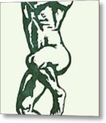 Man Nude Pop Stylised Etching Art Poster  Metal Print by Kim Wang