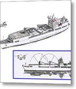 Merchant Marine Conceptual Drawing Metal Print by Jack Pumphrey