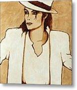 Michael Jackson Original Coffee Painting Metal Print by Georgeta  Blanaru