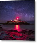 Milky Way Over Nubble Lighthouse Metal Print by Adam Woodworth