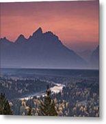 Misty Teton Sunset Metal Print by Andrew Soundarajan