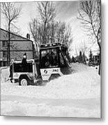 municipal city mini tractor clearing sidewalks and roads in Saskatoon Saskatchewan Canada Metal Print by Joe Fox