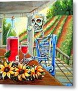 Napa Wine Skeleton Metal Print by Heather Calderon