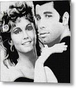 Olivia Newton John And John Travolta In Grease Collage Metal Print by Tony Rubino