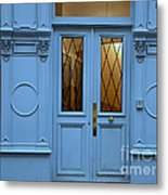 Paris Blue Door - Blue Aqua Romantic Doors Of Paris  - Parisian Doors And Architecture Metal Print by Kathy Fornal