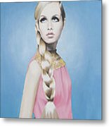 Portrait Of Twiggy Metal Print by Moe Notsu