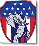 Republican Elephant Mascot Usa Flag Metal Print by Aloysius Patrimonio