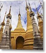 Ruined Pagodas At Shwe Inn Thein Paya Metal Print by Chris Caldicott