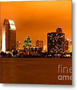 San Diego Skyline At Night Metal Print by Paul Velgos