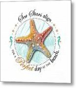 Sea Stars Align For A Perfect Day At The Beach Metal Print by Amy Kirkpatrick