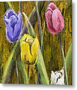 Splashy Tulips Metal Print by Vic  Mastis